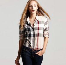 Blusas femeninas 2015 del verano camisa de tela escocesa mujeres camisas Blusas de manga larga blusa camisas de mujer tops para mujer chemise femme FC-0077(China (Mainland))