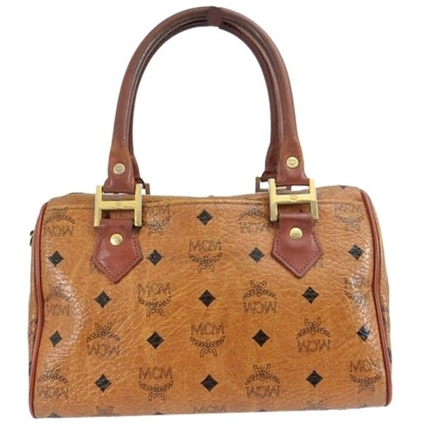Pre-owned Mcm Logogram Leather Hand From Japan Brown Tote Bag ($179) ❤ liked on Polyvore featuring bags, handbags, tote bags, brown, brown handbags, brown leather handbags, mcm handbags, mcm tote and mcm purse
