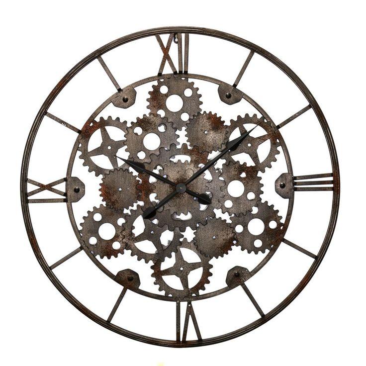Wanduhr Uhrwerk, Rostbraun/Silber, EisenLiving Wanduhr Uhrwerk, Rostbraun/Silber, Eisen