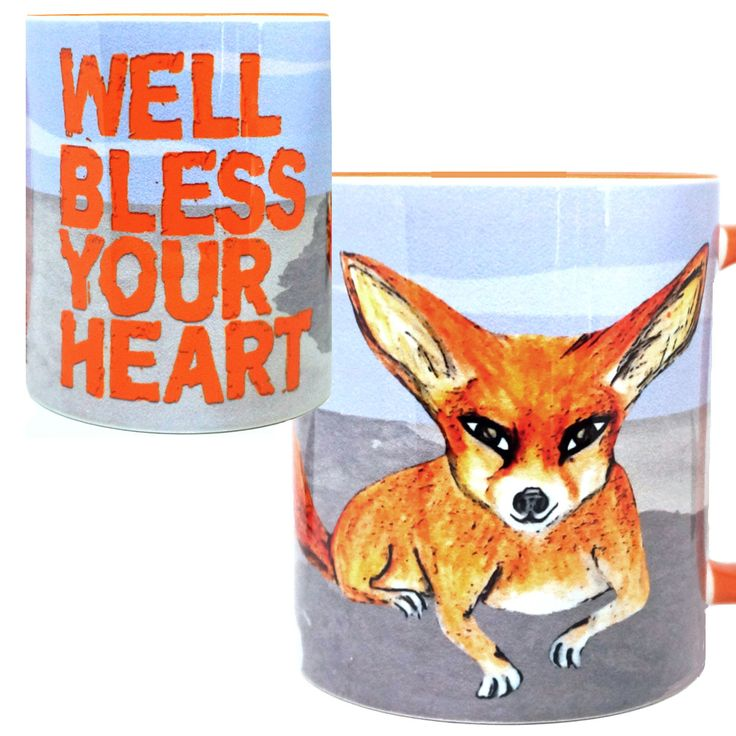 Bless Your Heart Fennec Fox Orange Mug Cup