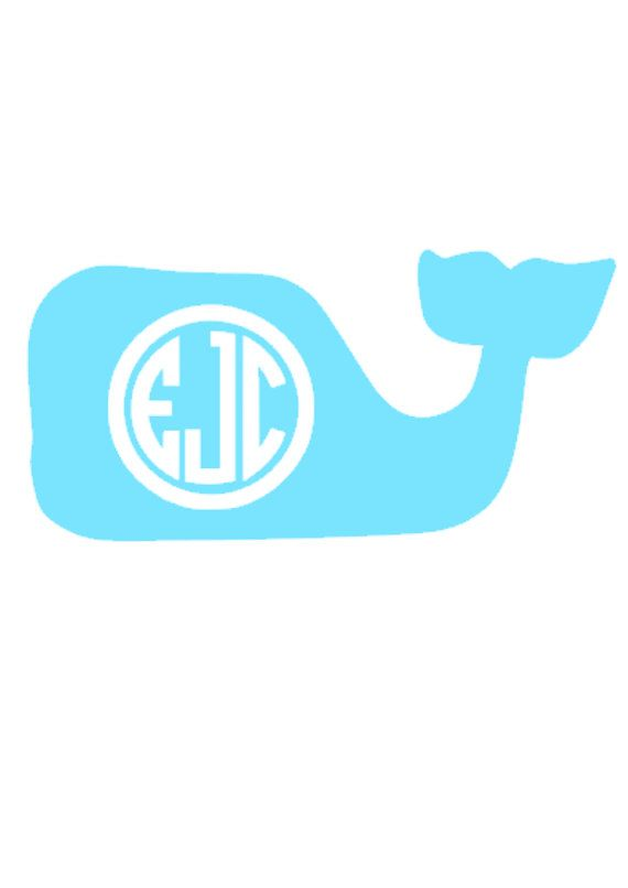 Monogrammed Whale Decal Personalized By
