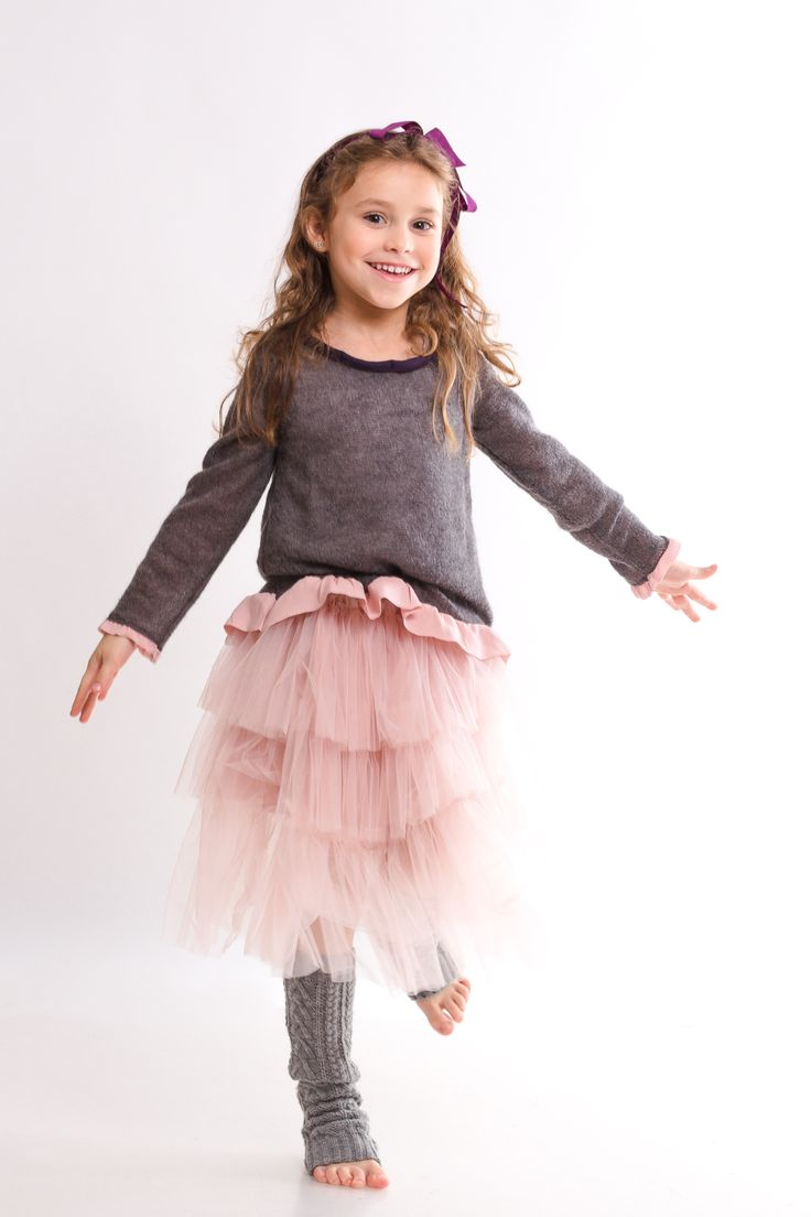 In love with this outfit from Designers for Kids. Wool pullovers for kids and beautiful silky tulle ruffled skirts for fashionable ballerinas and not only. find them on www.designersforkids.ro...
