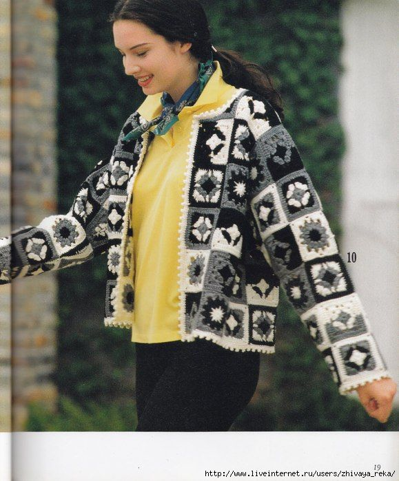Crochet black and white crochet granny sweater ♥LCT-MRS♥ with diagrams.