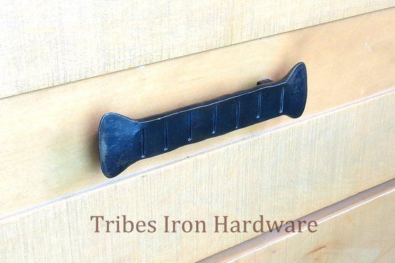 5 1 Wrought Iron Drawer Pull Handle 96mm Hand Forged Hammered