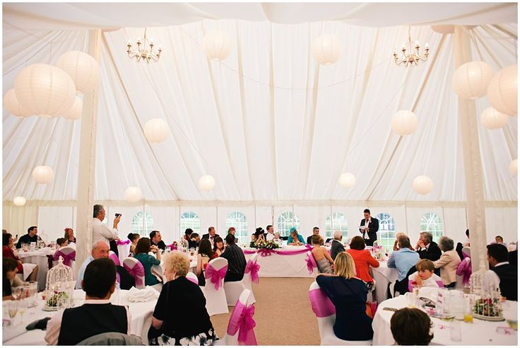 Amazing marquee with high ceiling and paper lanterns