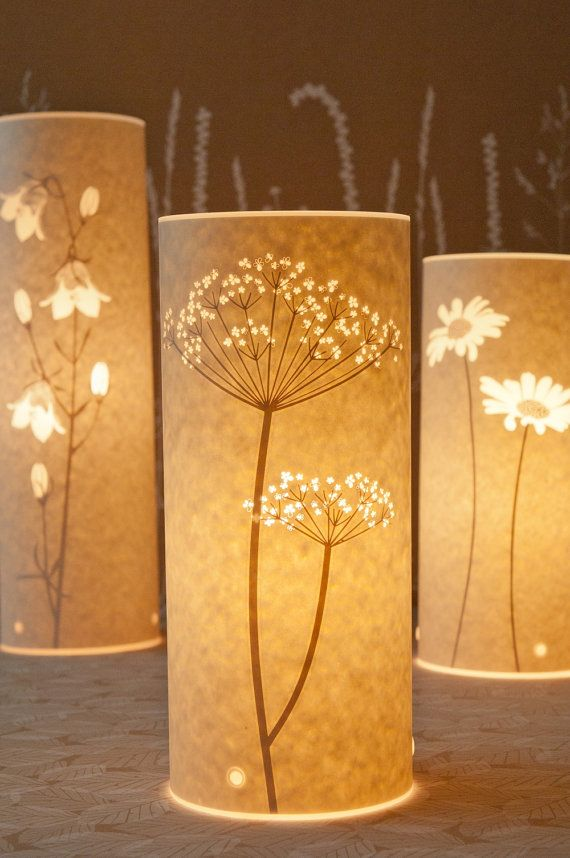 This is a free standing table lamp with a paper cut Cow Parsley design. It emits a warm and cosy glow to cheer the heart.  On a practical note it