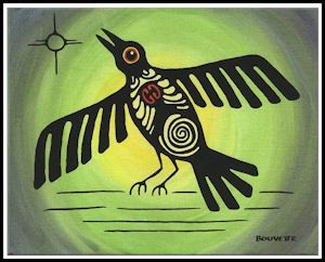 CROW  Here is Crow, he has the heart symbol to show that we are all related. I paint this symbol into many paintings and many creatures for we all one family. You can see the colors green & yellow, the warm growing season of Northern Summers. Crow is calling his family to come share the abundance. Our ancestors on the Prairies knew Crow very well.   A. Bouvette
