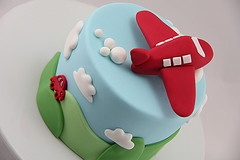 """baby boy airplane cake, love the """"green grass with little red car"""