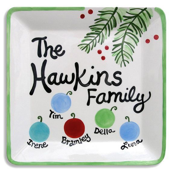 Christmas Family Plate--this would be a cute, easy DIY project w/ fingerprints making the ornaments
