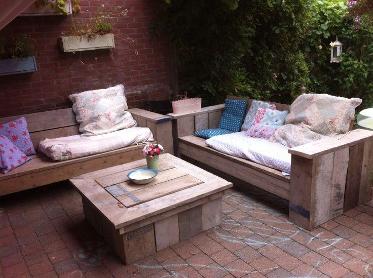 Steigerhouten tuinmeubels | robuust | Loungebank Basic + tafel | loungeset | stoer en romantisch