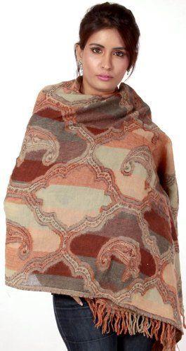 Exotic India Brown Woven Cutwork Jamawar Shawl - Brown Exotic India. $155.00