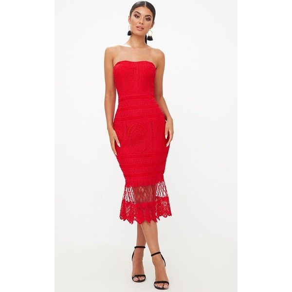Red Lace Bandeau Longline Midi Dress (€45) ❤ liked on Polyvore featuring dresses, red, red dress, white red carpet dresses, bandeau midi dress, bandeau dress and lacy white dress