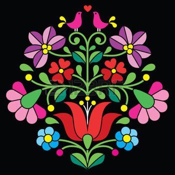 Kalocsai вышивка - Венгерский народный цветочный узор на черном photo