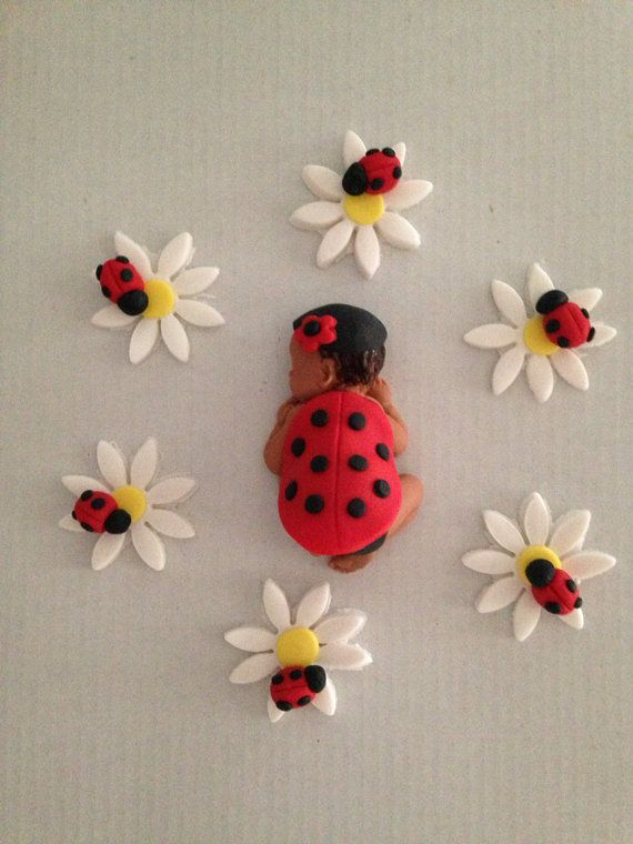 Fondant baby/ edible/ baby shower/ party favors/ cake topper/ cupcake topper/ ladybug baby