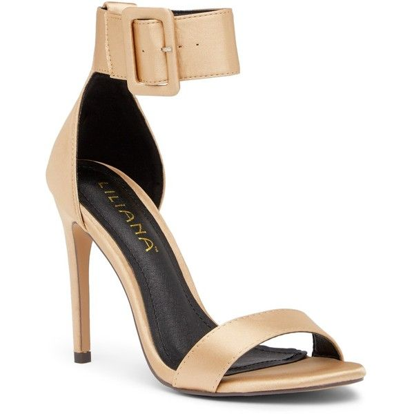 LILIANA Golden Ankle Strap Satin Sandal ($25) ❤ liked on Polyvore featuring shoes, sandals, champagne, heels stilettos, stiletto sandals, high heel stilettos, champagne shoes and ankle wrap sandals