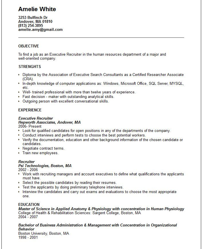 Executive Recruiter Resume Template -    jobresumesample - bartender skills resume