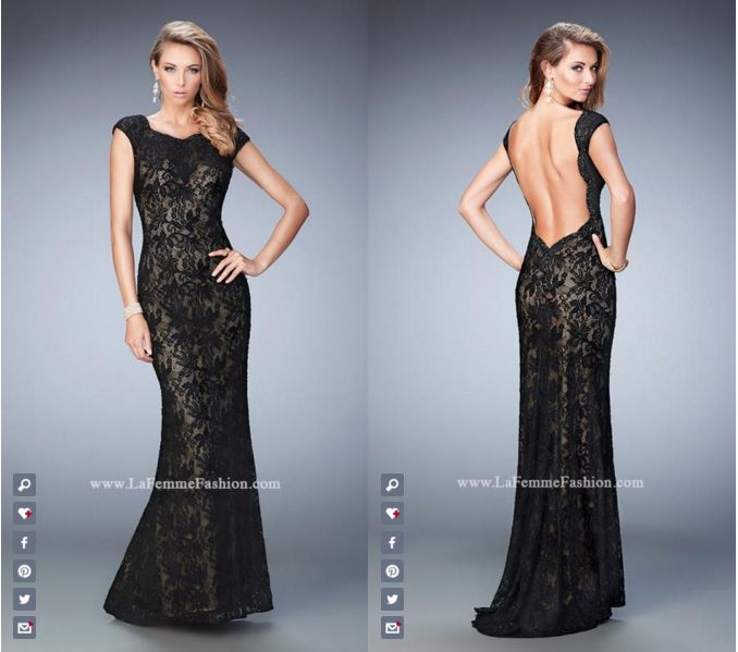 La Femme Prom style - 22479 long prom dress - black prom dress - formal dress - open back - capped sleeves - lace - rhinestone embellished