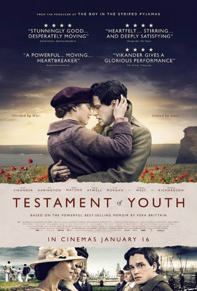 Testament Of Youth >3 BEST film I've seen in a long time! Beautifully adapted for the screen. Sadly still such a universally apt yet powerful story. And Alicia Vikander is truly genius as is the entire cast! Hats off to James Kent!