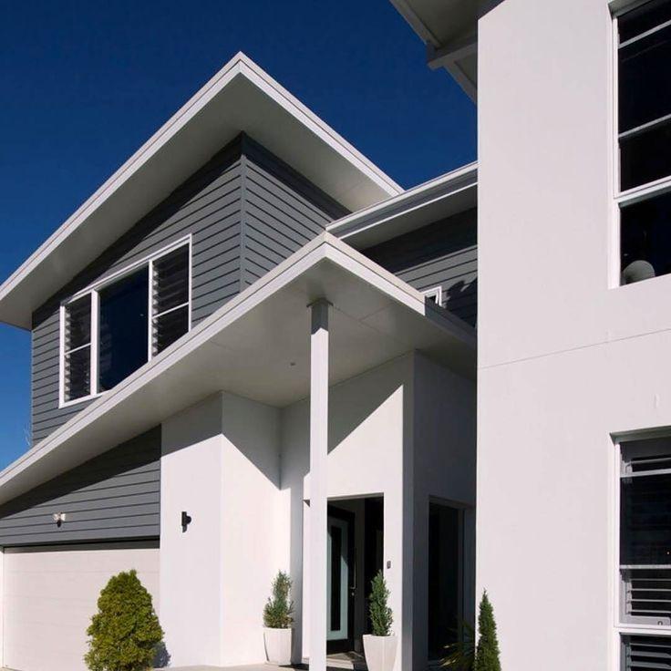 "Paint: Cladding is Dulux ""Klute"" and White colour is Dulux ""White on white"" #australianarchitecture #architecture #exterior #exteriordesign #scyonwalls"