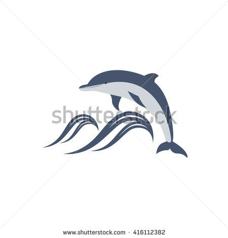 vector illustration of dolphin jumping over the waves. great for logo