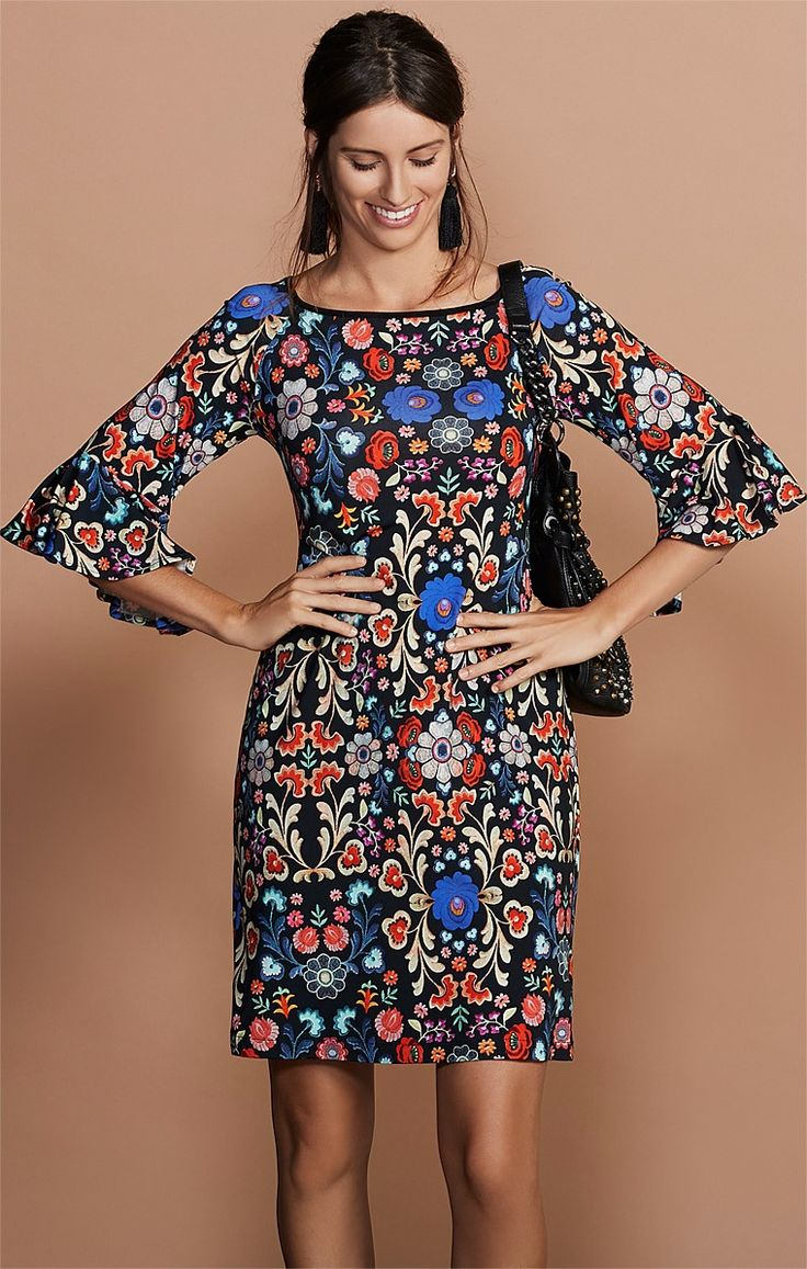 FIORI BELL SLEEVE KNEE LENGTH STRETCH JERSEY PRINTED TUNIC DRESS IN FOLK FLOWER