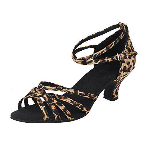 on sale 70d11 3048b ZEVONDA Casual Peep Toe Casual Talon Haut Satin Chaussures de Danse Latine  Tango Femme Léopard CN 37 (Longueur Pieds  23.5 cm) Talon 5 CM