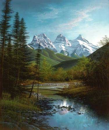 """This is a picture of """" The Three Sisters"""" mountain range near Canmore Alberta, Canada."""