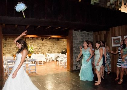 Bridal Bouquet Toss captured by Millgrove Photography at Yarra Ranges Estate