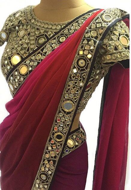 Arpita Mehta| Designer Saree| Bridesmaids| Wedding Special| Glass Work| Mirror Work| Mirror Blouse|