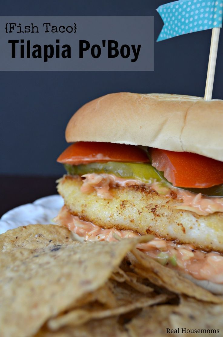 {Fish Taco} Tilapia Po'Boy | Real Housemoms | This combines two of my seafood favs!