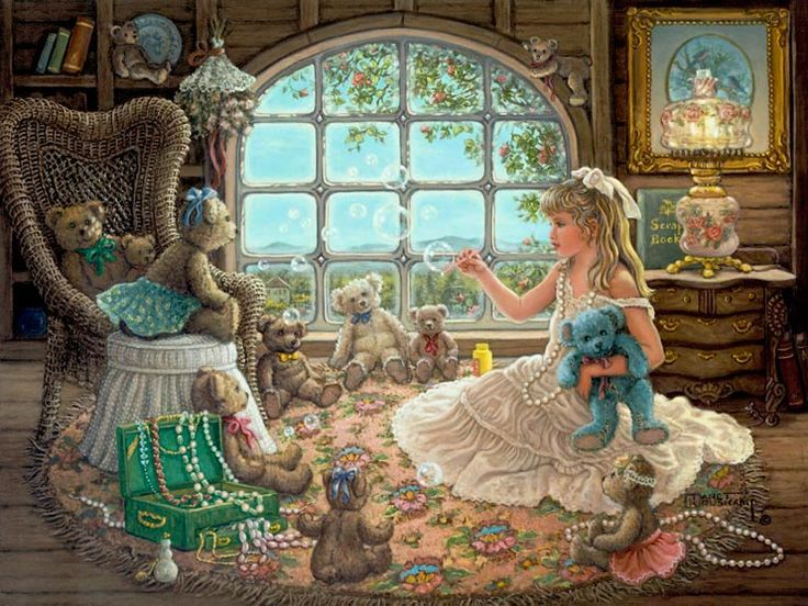 Bright Visions, a painting of a beautiful blond little girl playing dress up and blowing bubbles for her teddy bears in the attic filled wit...