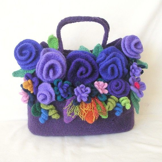 Felted Flowers Tote Bag Crochet Felted Pattern Tutorial PDF Instructions - 3 sizes Bags & all Flowers directions