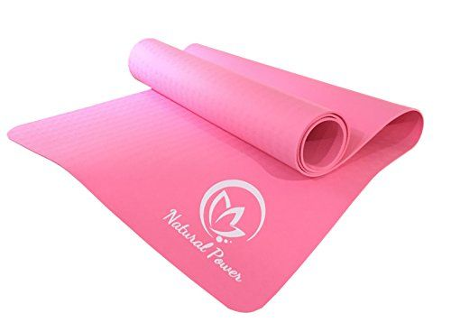 "Yoga Mat - Natural Power Premium Mat TPE, Anti-slip Grip, Eco-friendly Material - 68"" x 24"" 4mm thick Pink Mat  High Quality Eco-Friendly TPE Material Durable and Lightweight Molded Texture Easy to Clean Water-Proof Non-Toxic Ideal for any exercise including yoga, Pilates, stretching and much more!"