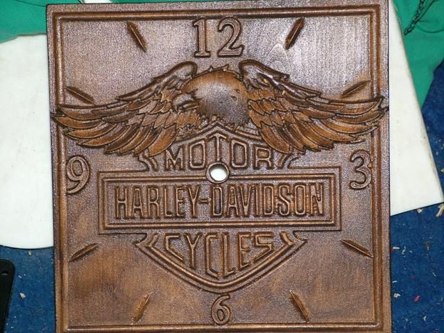 Carving harley davidson logo with clock my wood