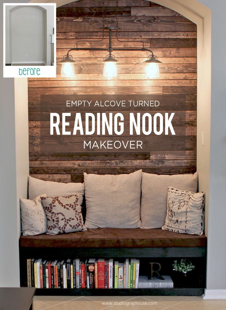 Looking for a DIY home makeover project that packs a huge punch? Turn a boring and empty alcove into a cozy reading nook with a wood plank wall.