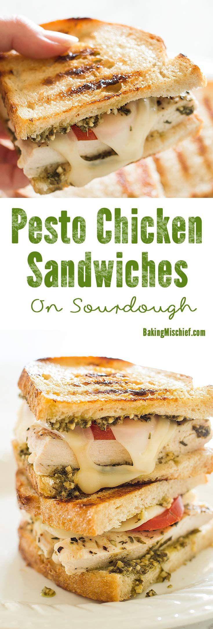 This Pesto Chicken Sandwich on Sourdough, toasted in olive oil and topped with grilled chicken, pesto, Swiss cheese, and fresh tomatoes is a perfect easy dinner. From BakingMischief.com