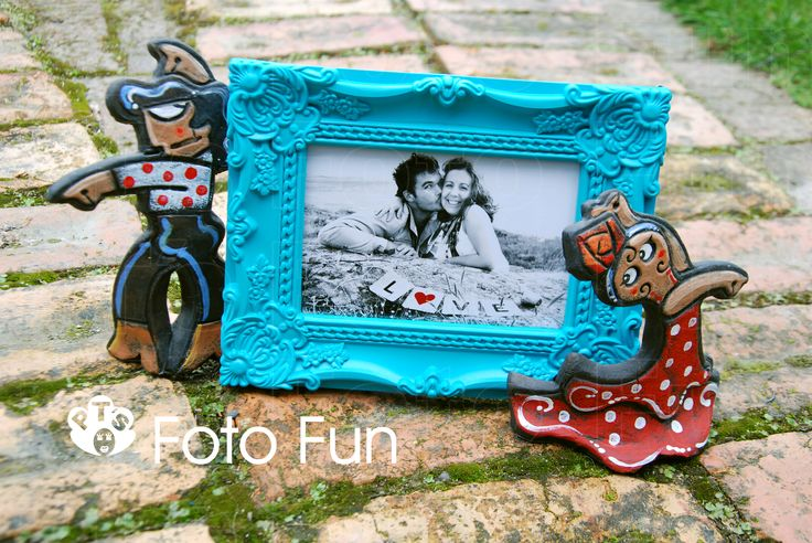 Beautiful couple in Spanish clift framed in blue