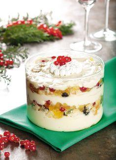 Creme gelado de panetone com chocolate branco para o Natal