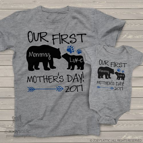 First Mothers Day mommy baby bear matching shirt gift set
