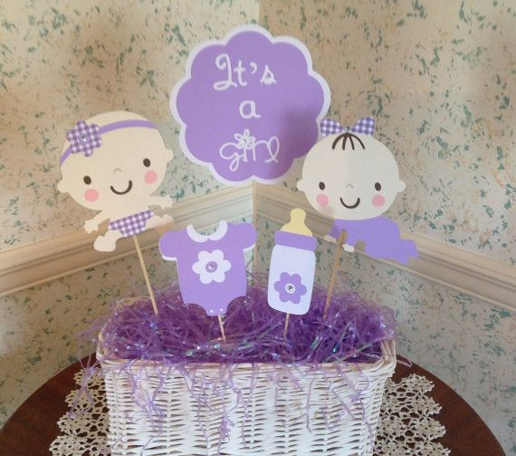 Baby Shower Centerpiece  Set Of 5 Picks  Baby Shower Gift  Its A Girl