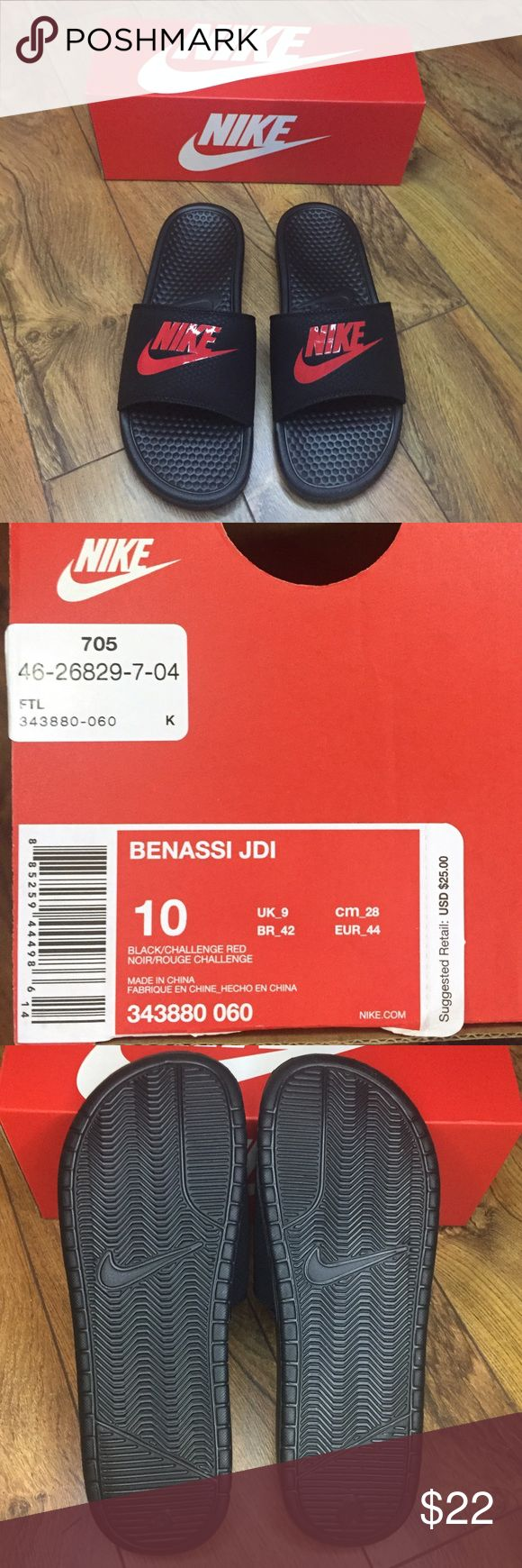 Nike Benassi JDI Mens Athletic Sandals NEW WITH BOX! NEVER WORN! Size 10. A post-gym and at-home staple almost everywhere these Nike Slides epitomize relaxation and winding down. Simple and comfortable; not much else to ask for from your slides. Nike Shoes Sandals & Flip-Flops