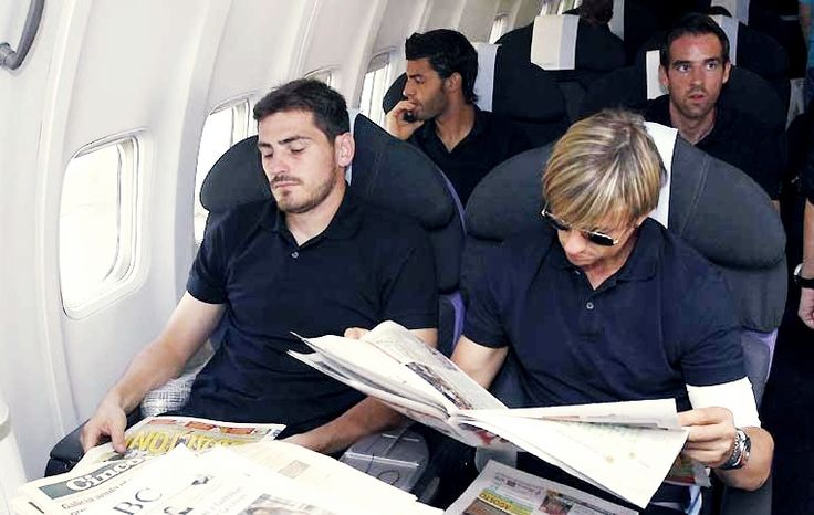 """suenosblancos: """" Could this picture be more glamorous? On the left we have Iker, the classy man , reading the newspaper and amost falling asleep over it. On the right we have Guti, our glamour King..."""