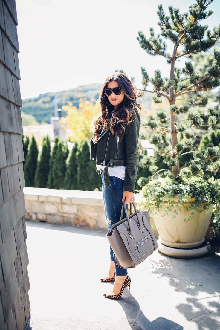 Olive suede jacket, blue denim and leopard print pumps; fall style; fall outfit; fall outfit ideas