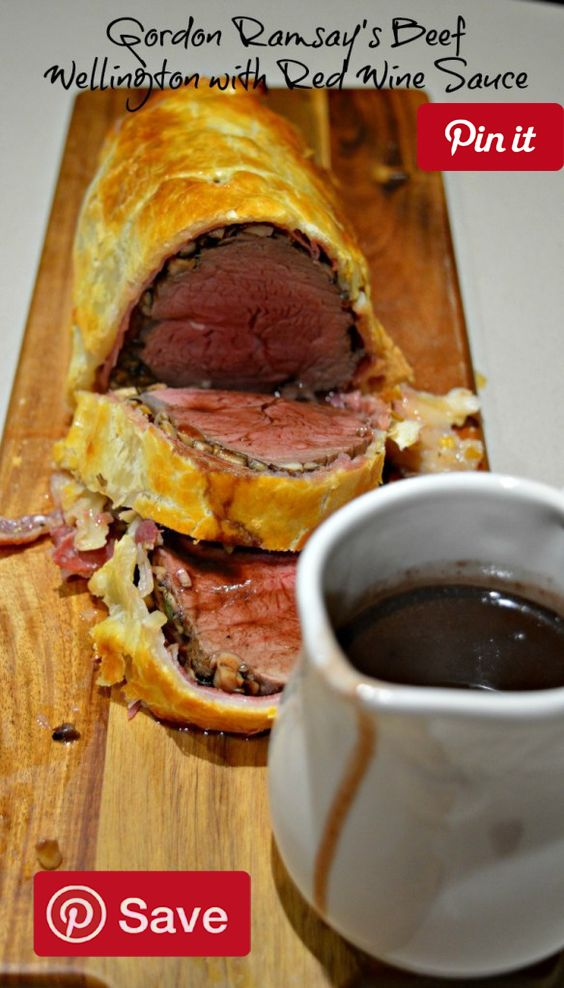 Gordon Ramsays Beef Wellington - Ingredients  Meat  200 g Beef timmings  6 slices Prosciutto  Produce  1 Bay leaf  250 g Mushrooms  4 Shallots  2 Thyme sprig  Refrigerated  1 Egg yolk  Canned Goods  750 ml Beef stock  Condiments  1 Red wine sauce  Baking & Spices  12 Peppercorns black  2 Sea salt and cracked black pepper  Oils & Vinegars  1 Olive oil  2 tbsp Olive oil  1 Splash Red wine vinegar  Bread & Baked Goods  2 sheets Puff pastry  Dairy  2 tbsp Butter  Other  1 x 750ml bottle red wine