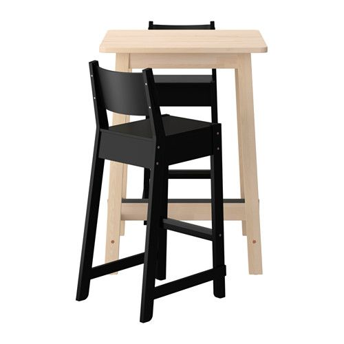 IKEA - NORRÅKER / Bar table and 2 bar stools white birch, black
