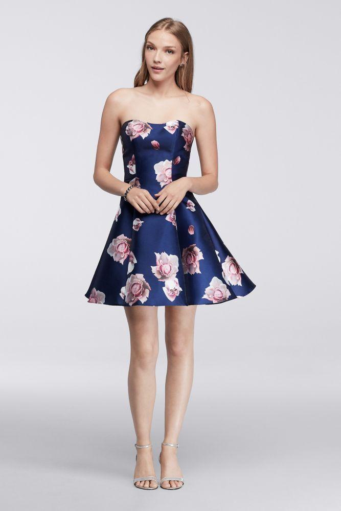 7d1a59d0da Strapless Floral Homecoming Dress - Navy (Blue), 14 | *Clothing > Dresses*  | Floral homecoming dresses, Homecoming dresses, Dresses