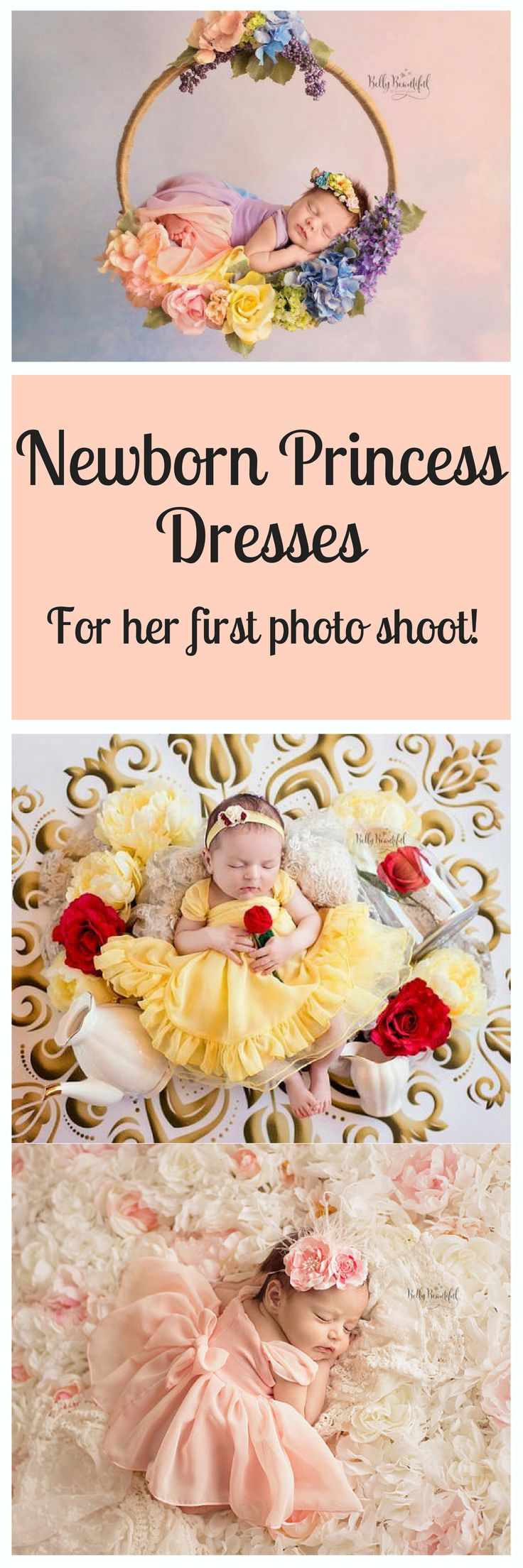 These are so adorable! Newborn princess dresses! Whether you do it yourself or have it professionally done, these make for the perfect photo shoot! #affiliate #princess #newborndresses