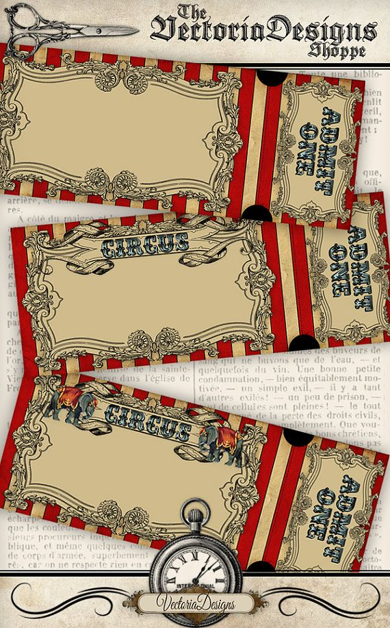 Circus Invitation Tickets circus party by VectoriaDesigns on Etsy