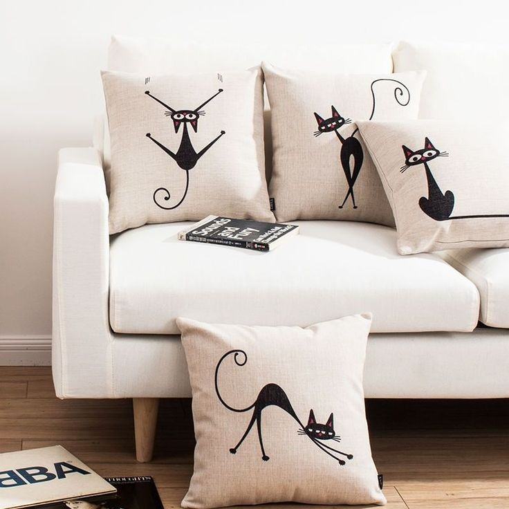 Cute Little Black Genius Cat Linen Throw Cushion Cover Pillow Case Sofa Decor