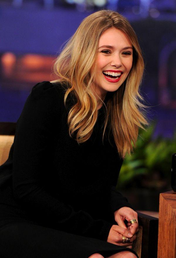 ELIZABETH LIZZIE OLSEN JAY LENO TONIGHT SHOW NBC VIDEO BLACK DRESS RED LIPS ORANGE HEELS 1